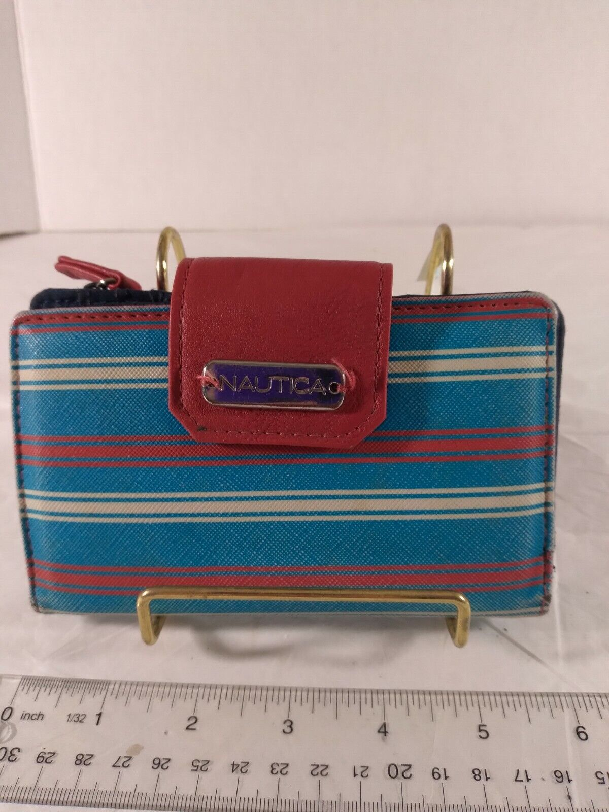 Nautica Wallet Red White Blue Stripes RFID Protection Inside Pockets & Zipper...