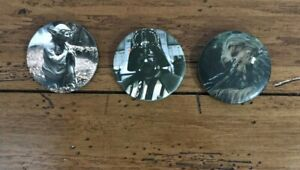 Star-Wars-1983-PinBack-Pin-Button-Yoda-Darth-Chewy-Figures-Vintage-Lucas-Films