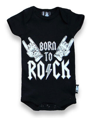 Six Bunnies Rockabilly Born To Rock Tattoo Baby Romper