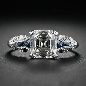 Art-Deco-Engagement-Wedding-Ring-Sapphire-2-Ct-Asscher-Diamond-14k-White-Gold-Fn