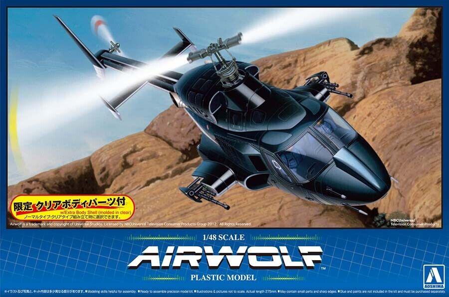 AIRWOLF TV Serie Bell 222 Hubschrauber 1:48 Model Kit Bausatz Aoshima 005590
