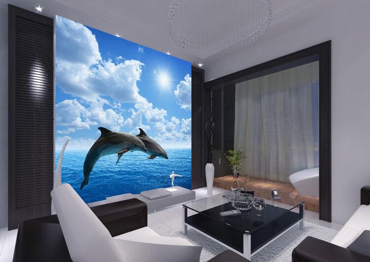 3D Sky Dolphin Sea 95 Wallpaper Mural Paper Wall Print Wallpaper Murals UK