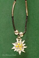 German Bavarian Women's Oktoberfest Jewelry - Enamel Edelweiss Necklace