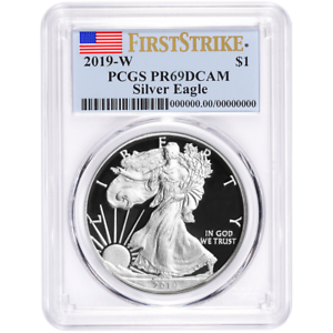 2019-W Proof $1 American Silver Eagle PCGS PR69DCAM First Strike Flag Label