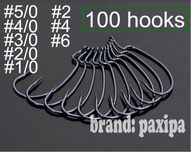 100 Wide Gap Worm Hook Jig Fishing Crank Hook for soft bait #2 to #6 #1/0 to#5/0