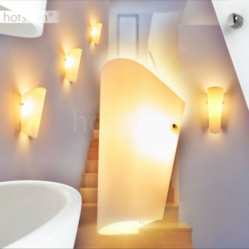 Wand Lampen Glas weiß Flur Dielen Beleuchtung Wohn Schlaf Zimmer Leuchten modern
