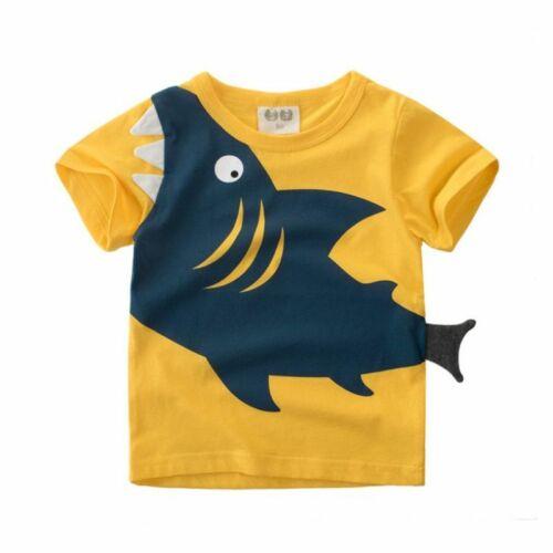 Boys T Shirt Shark Baby Tops Summer Toddler Clothing Cotton Children Play Baby