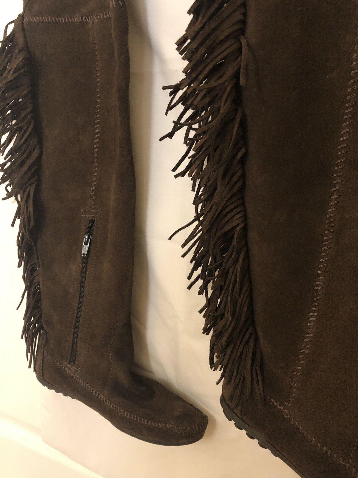MINNETONKA Flat Fringe Braun Suede Leder Moccasins Style Stiefel with Fringe Flat 38 UK 5 01177a