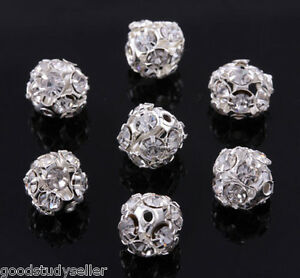 50-pcs-8mm-Silver-Plated-Rhinestone-Pave-Spacer-Beads-Charms-Findings