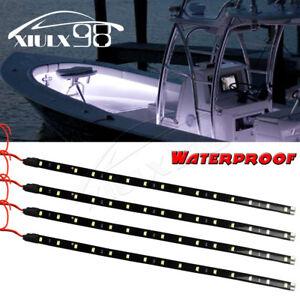 4X-30cm-15-LED-Cool-White-Flexible-Strip-Light-Motorcycle-Truck-Boat-Waterproof