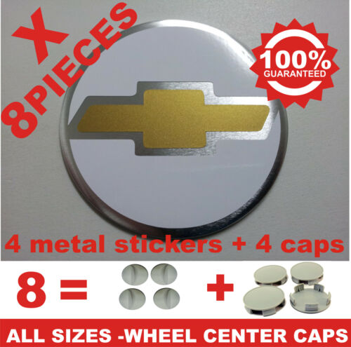 4 CAPS CHEVROLET 5 tapas llantas ruedas  wheel center caps 4 METAL STICKERS
