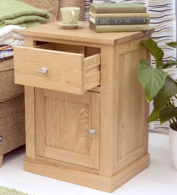 mobel solid oak furniture side lamp table with cupboard
