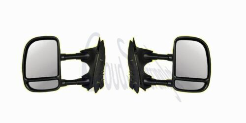 BRAND NEW HD TELESCOPING MANUAL TOW MIRRORS w// CONVEX SPOTTER REDUCE BLIND SPOT
