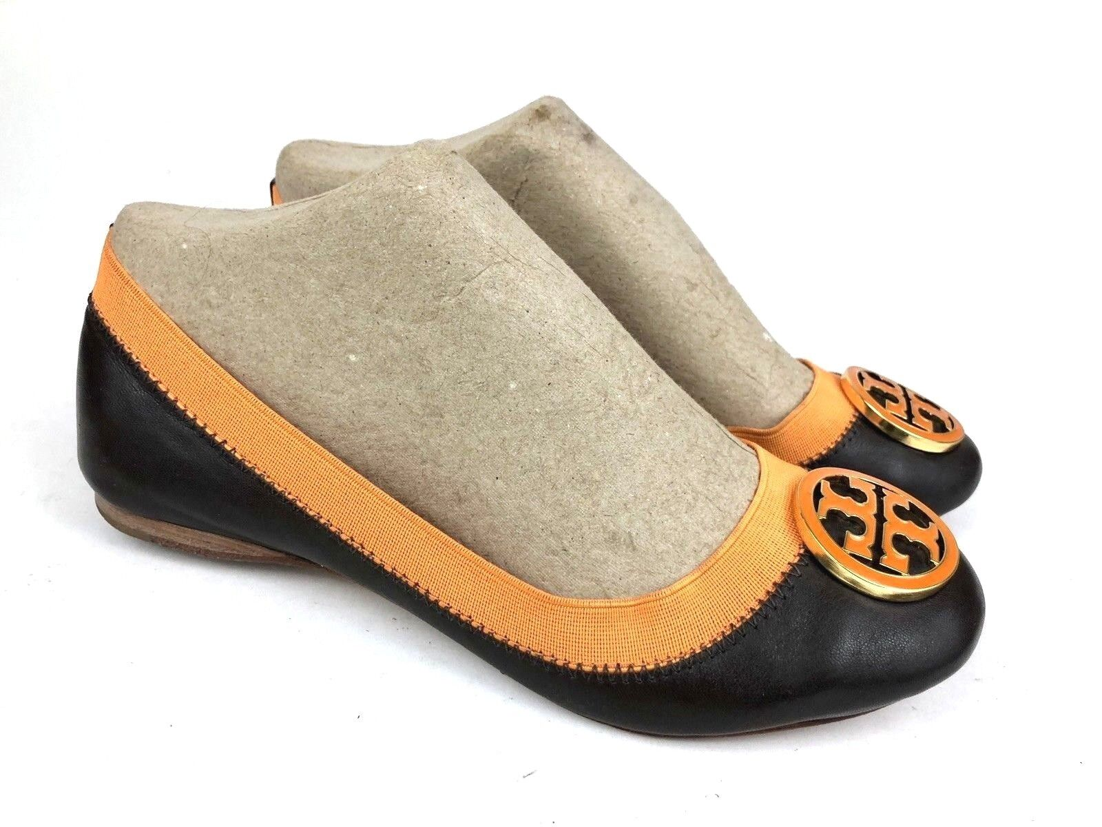 TORY BURCH   autooline arancia + Dark Marronee Leather Logo Btuttiet Flats   Wouomo 6