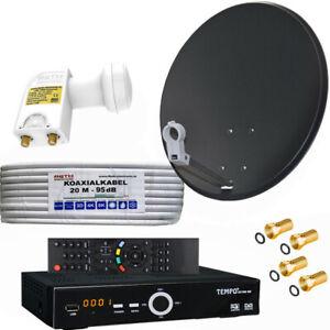 Sat-Anlage-80cm-Spiegel-Schuessel-HDTV-Sat-Receiver-Twin-LNB-2-Teilnehmer-TOP