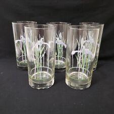 """4 Corelle SHADOW IRIS 16-oz GLASSES 6/"""" Drink Tea Cooler Tumblers PURPLE Floral"""