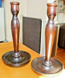 Pair-Of-Vintage-1920-039-s-30-039-s-Dark-Oak-Turned-Wooden-Candlesticks-25cm-Tall