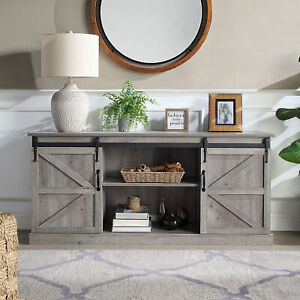 """58"""" Sliding Barn Door TV Stand Console W/Storage For TVs Up To 65"""",Gray Wash"""