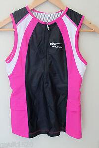 NWT-TriMax-Women-039-s-Tri-Top-Triathlon-Performance-Black-Pink-White-Tank-S-90