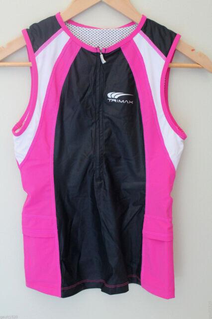 NWT TriMax Women's Tri Top Triathlon Performance Black Pink White Tank S $90