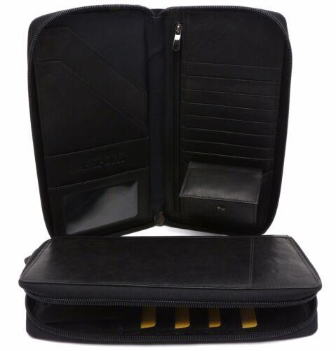 Bifold Black /& Navy Genuine Leather Large Travel Passport Zip-Around Wallet