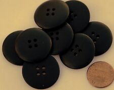 "8 Large Black Plastic Buttons Slightly Domed Top 1"" 25.5mm # 5849"