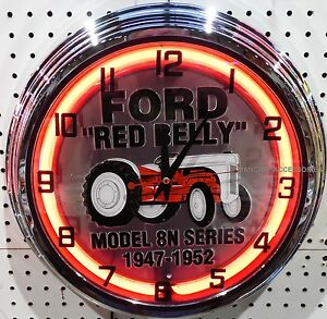 "17"" FORD Red Belly Tractor 8N Series Embossed Sign Neon Clock"