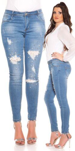 Curvy Girls Damen Jeanshose Skinny Jeans Used Look mit Zierperlen und Spitze