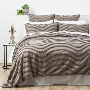 Cloud-Linen-Wave-Cotton-Grey-Vintage-Quilt-Cover-Duvet-Doona-Set-Super-King