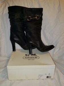 1334967f384 Details about Retails $675 Rare! Coach Reiann Black Leather Boots * Size 9B