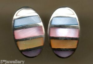 real solid sterling silver 925 oval stud earring Blue Pink white mother of pearl