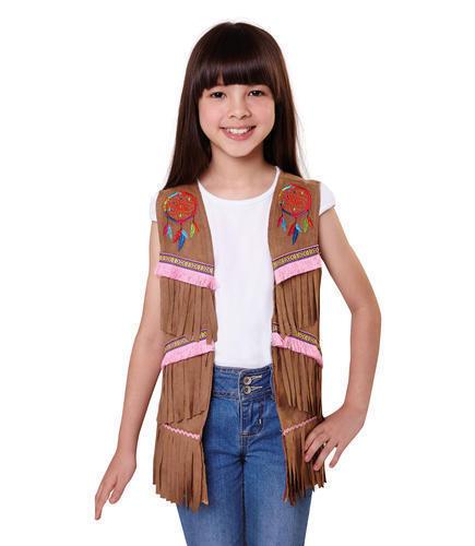 INDIAN Hippie Gilet Bambine Bambini Costume Accessorio Bambino 9-10 anni