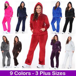 b9679b78f Women's Plus Size Athletic Velour Zip Up Hoodie & Sweat Pants Set ...