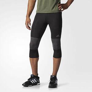 new adidas mens workout running supernova compression 3 4 tights black sz s m l ebay. Black Bedroom Furniture Sets. Home Design Ideas
