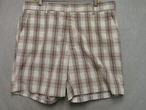 7b9f0e17cbe74 A7438 JCPenney White/Brown/Blue/Orange Plaid Cool Shorts Men 39x7   eBay