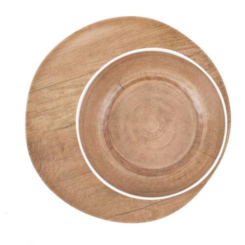 Melamin Holzoptik Ø 21 Picknick Schale TELLER Set 8 tlg 27,3 cm // Teller