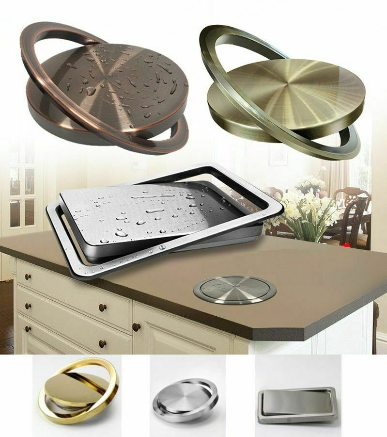 Stainless Steel Flush Recessed Built-in Balance Swing Flap Lid Cover Trash Bin