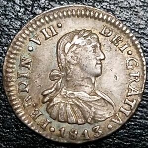 1813-JJ-1-2-Real-Mexico-Colony-Milled-Bust-King-Ferdinand-VII-World-Silver-Coin