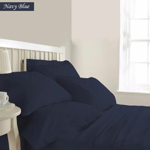 """400 Thread Count Bed Sizes /& Deep Pocket Solid Navy Blue Sheet Set /""""4-Piece/"""""""