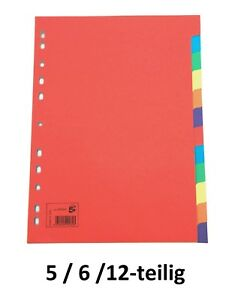 Ordner Register blanko farbig Karton DIN A4 5, 6, 12 teilig wählbar