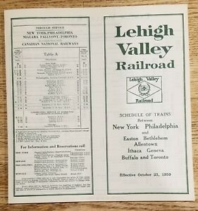 UNCIRCULATED-Lehigh-Valley-Railroad-Passenger-Schedule-October-25-1959-FREE-SHIP