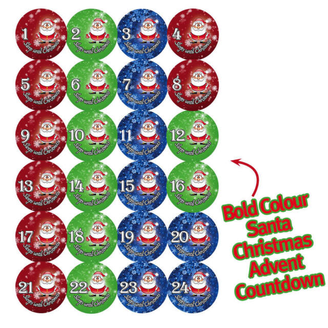 24 X RED ADVENT MILK CHOCOLATE COINS WITH COUNTDOWN NUMBER STICKERS