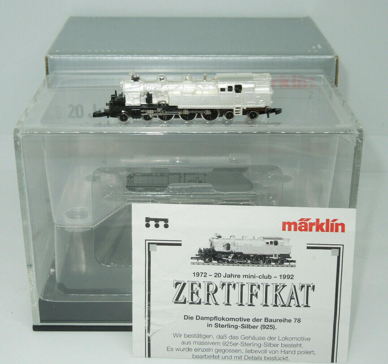 Märklin mini-club 8814 locomotiva BR 78 STERLING-argentoO CON CERTIFICATO (2)