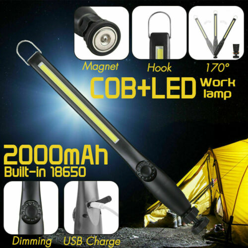 Magnetic LED COB Inspection Lamp Work Flashlight Light Rechargeable USB Torch SB