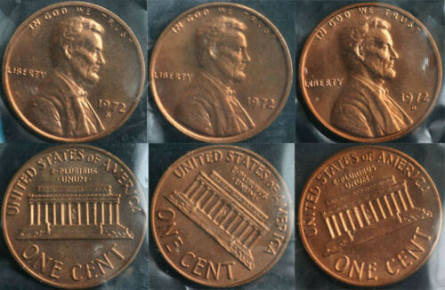 1972 P /& D /& S Lincoln Cent 3-Coin from US Mint Set UNC Cello One Cent 3-Coins