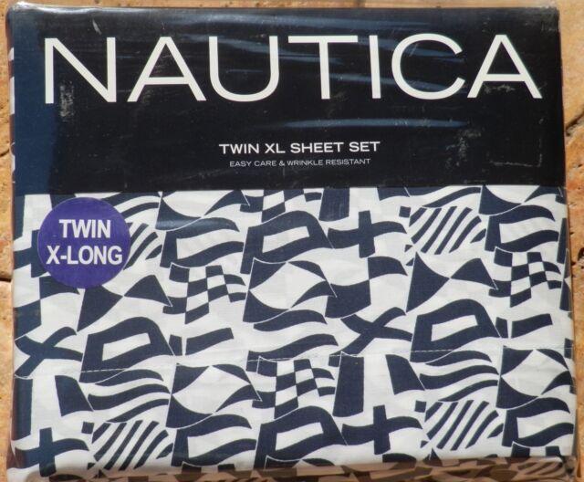 Nautica TWIN XL Sheet Set North Landing Navy Blue NIP new never