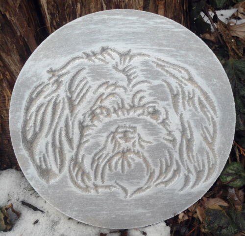 """Maltese Dog puppy plaque mold plaster concrete resin craft mould 7.75/"""" x 3//4/"""""""