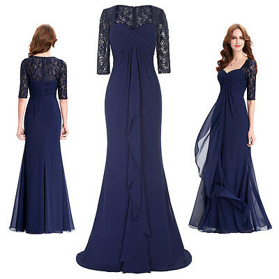 New 1/2 Sleeve Mother of the Bride Dress Formal Evening Party Wedding Prom GOWN.