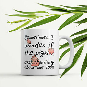 Farmer Mug Pigs Are Thinking Funny Gift For The Pig Farmer Homestead Pigs Lover