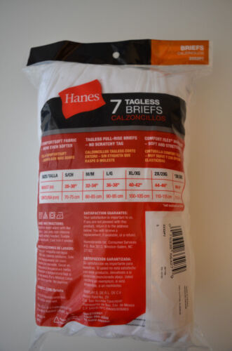 Small 7-PACK Hanes Men/'s White Tagless Briefs in Sz